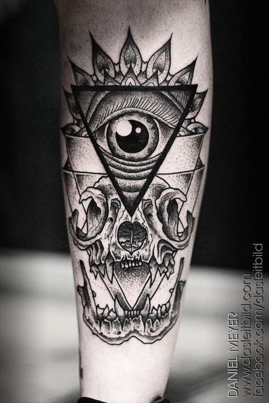 9f6024d8f3 Black And Grey Triangle Eye With Skull Tattoo On Leg