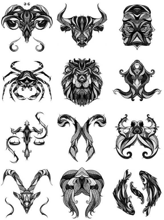 58 tribal zodiac sign tattoos designs. Black Bedroom Furniture Sets. Home Design Ideas