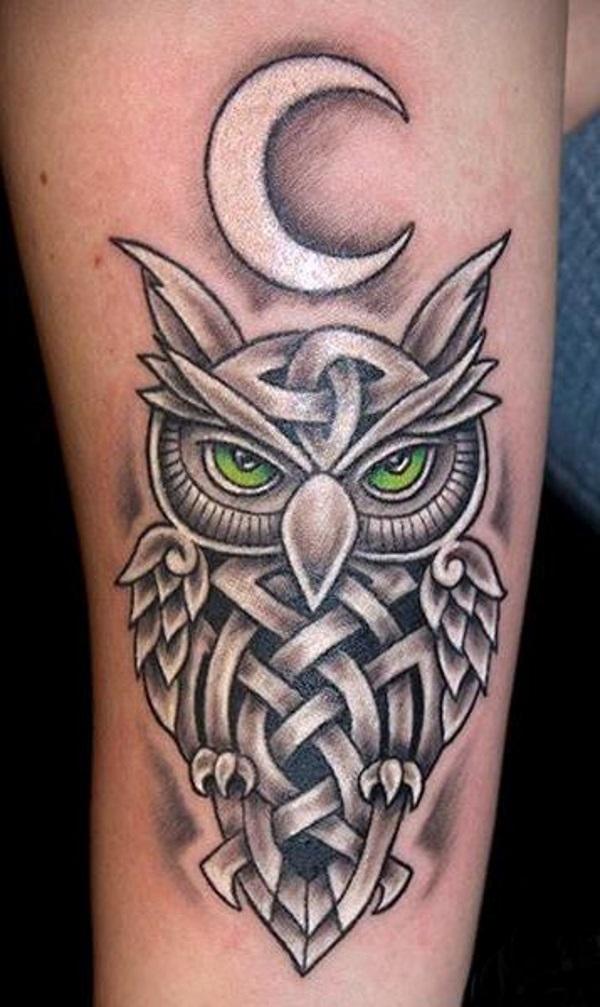 black ink celtic owl tattoo design for half sleeve. Black Bedroom Furniture Sets. Home Design Ideas