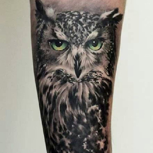 Great Horned Owl Black And Grey Tattoo 30+ Realistic O...