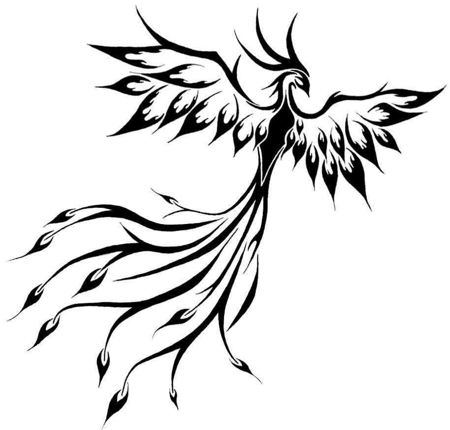 f469b3617 Black Flying Tribal Phoenix Tattoo Design