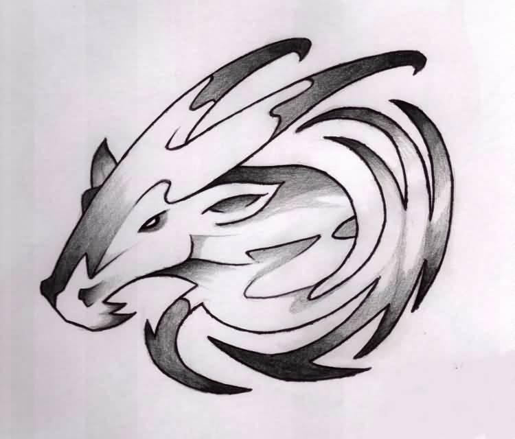 Black Ink Capricorn Zodiac Sign Tattoo Design By Kryss