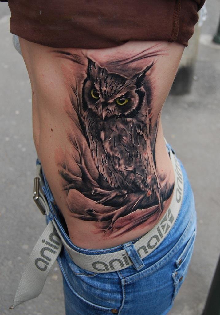 56 amazing owl bird tattoos ideas for Cute side tattoos