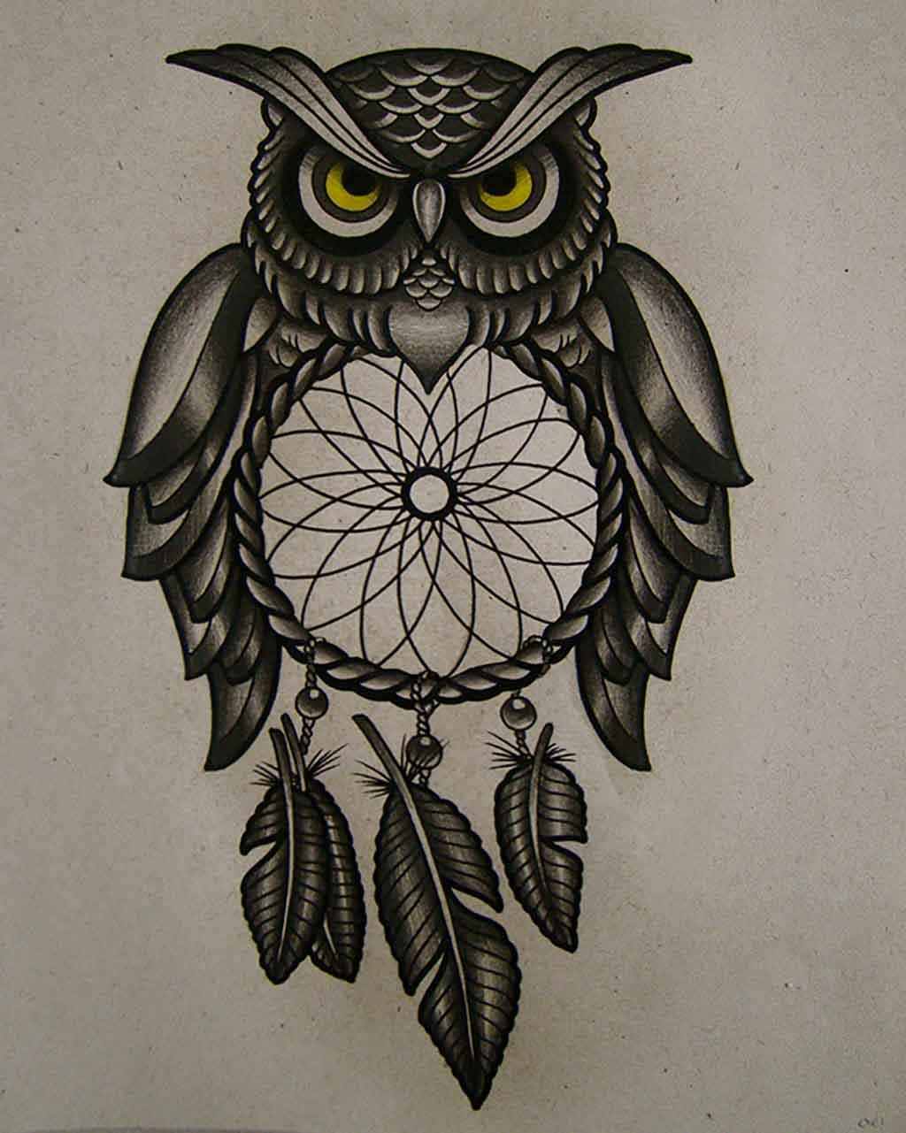 52 owl tattoos collection for men black ink owl dreamcatcher tattoo design for men buycottarizona Images