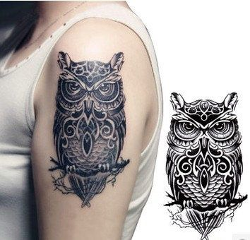 c4826786a Black Ink Owl Tattoo On Girl Left Upper Arm