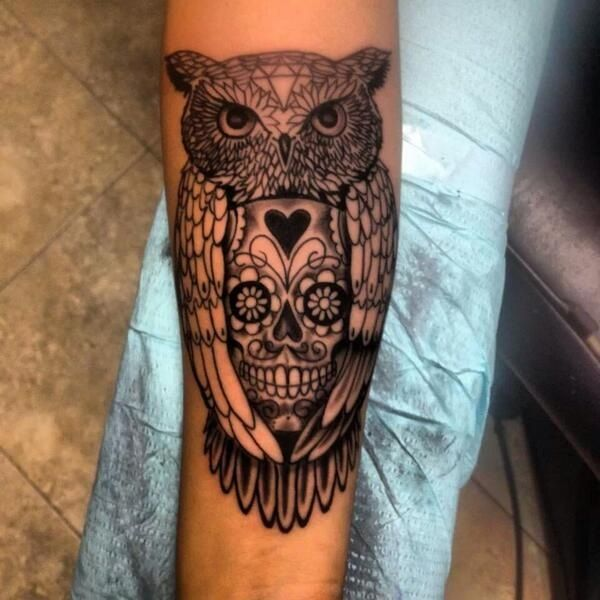 dfd378b23 Black Ink Owl With Sugar Skull Tattoo Design For Men Forearm