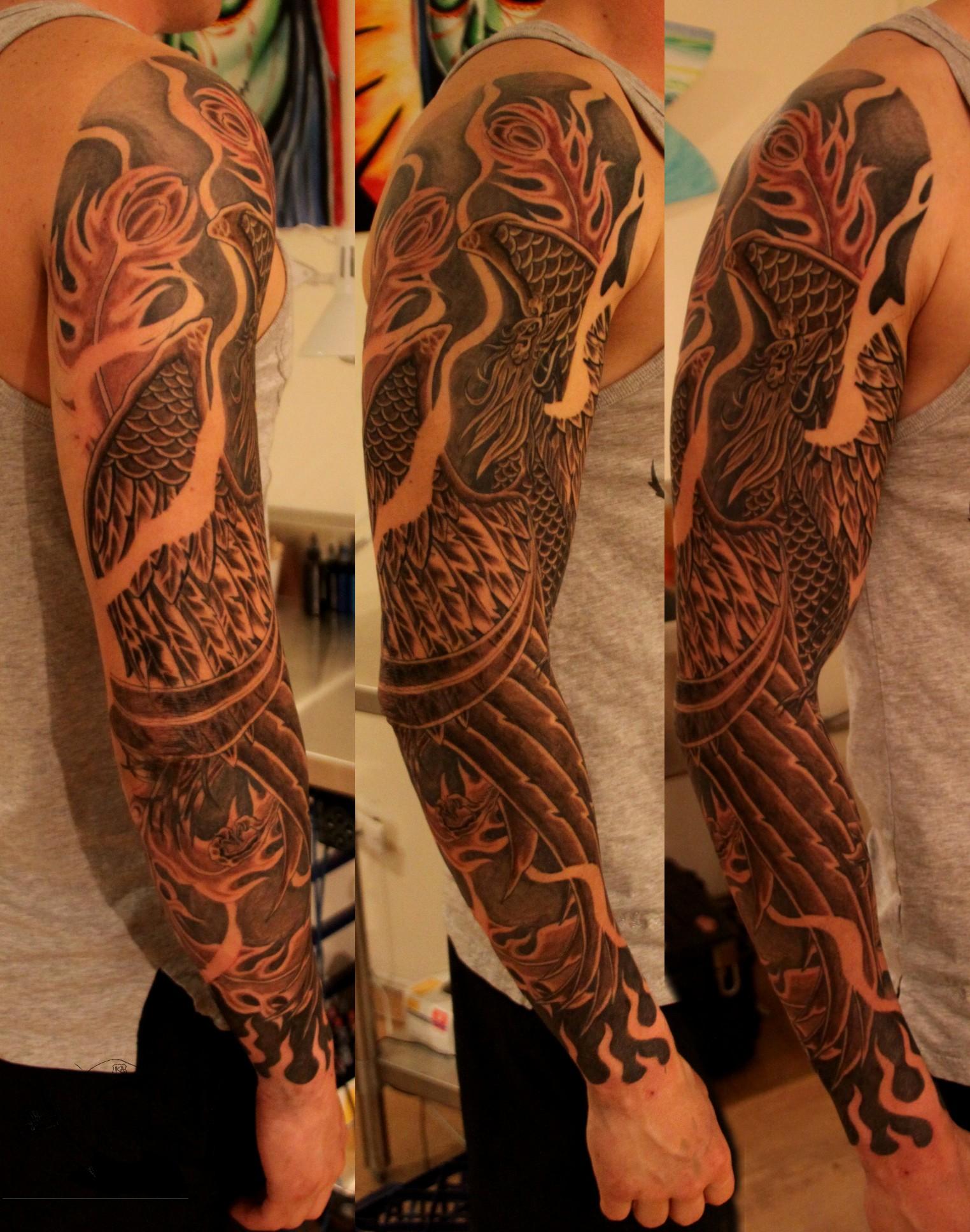 Phoenix tattoo for men - Black Ink Phoenix Tattoo On Man Right Full Sleeve