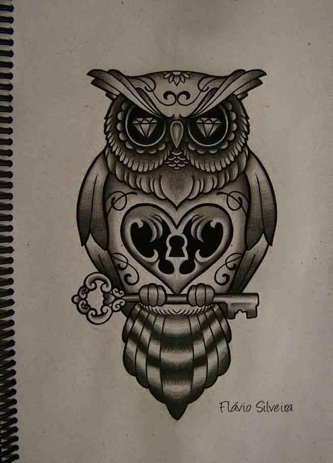 55 traditional owl tattoos ideas for Owl heart tattoo