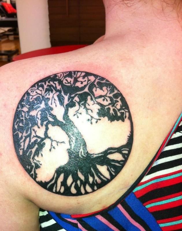 a3faab088 Black Ink Tree Of Life Tattoo On Girl Left Back Shoulder