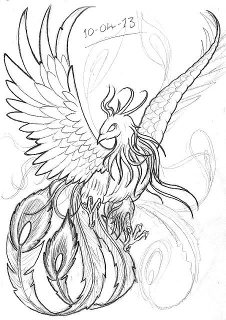 Black Outline Japanese Phoenix Tattoo Stencil