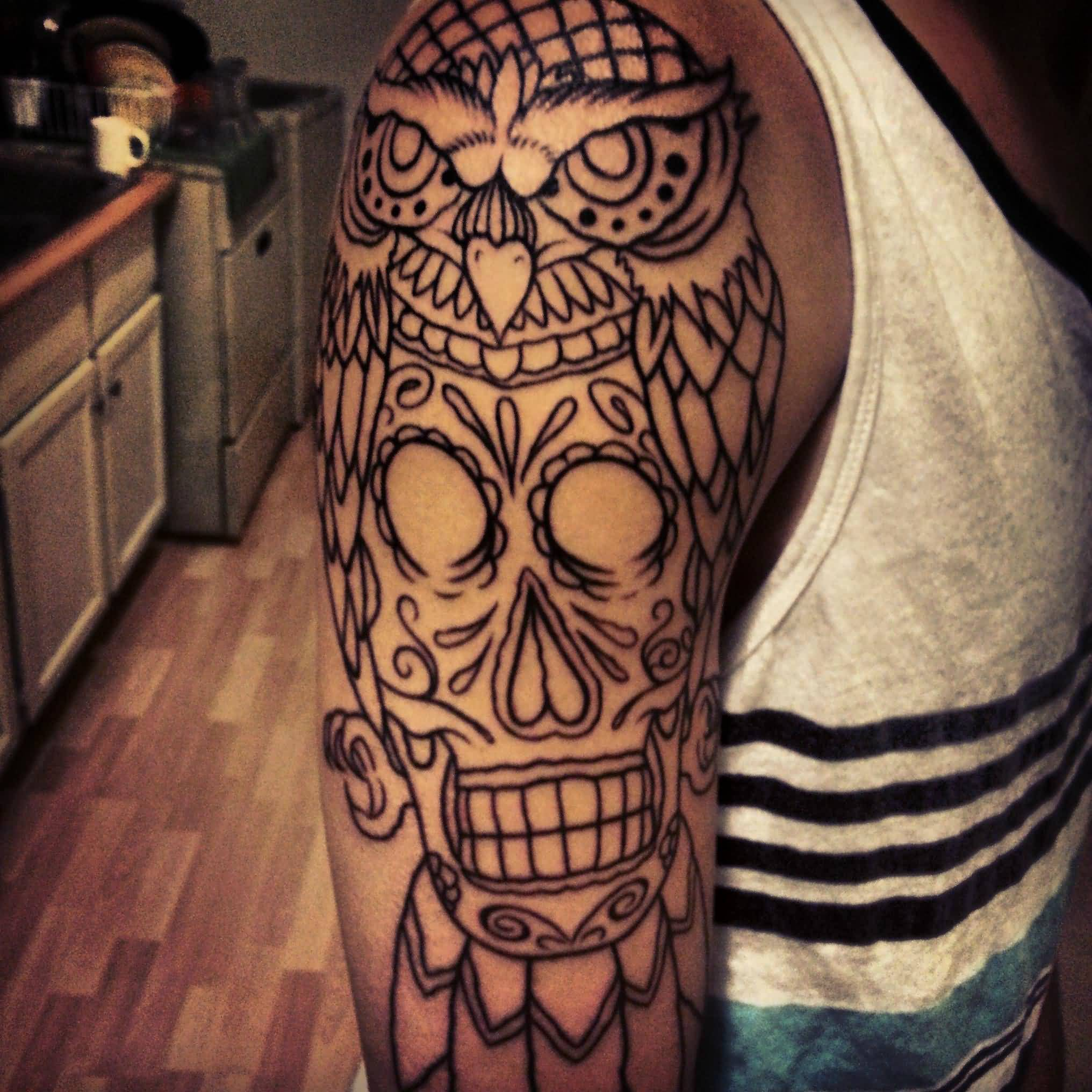 Owl sugar skull outline