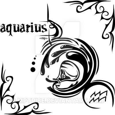 f32fb50908554 Black Tribal Aquarius Zodiac Sign Tattoo Stencil