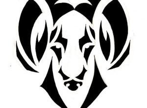 fe895752d9232 Black Tribal Aries Zodiac Sign Tattoo Design
