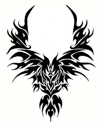 Black Tribal Flying Phoenix Symbol Tattoo Design