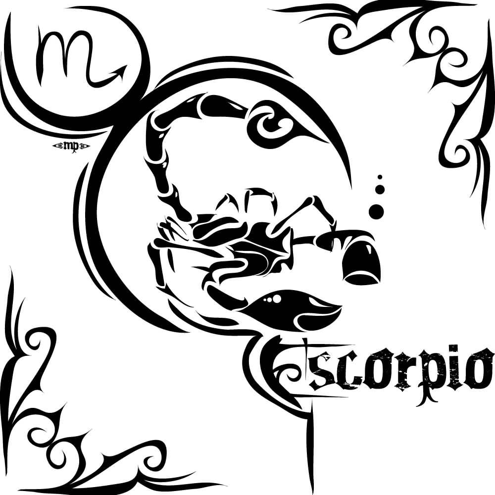50 zodiac sign tattoos designs black tribal scorpio zodiac sign tattoo stencil buycottarizona Images