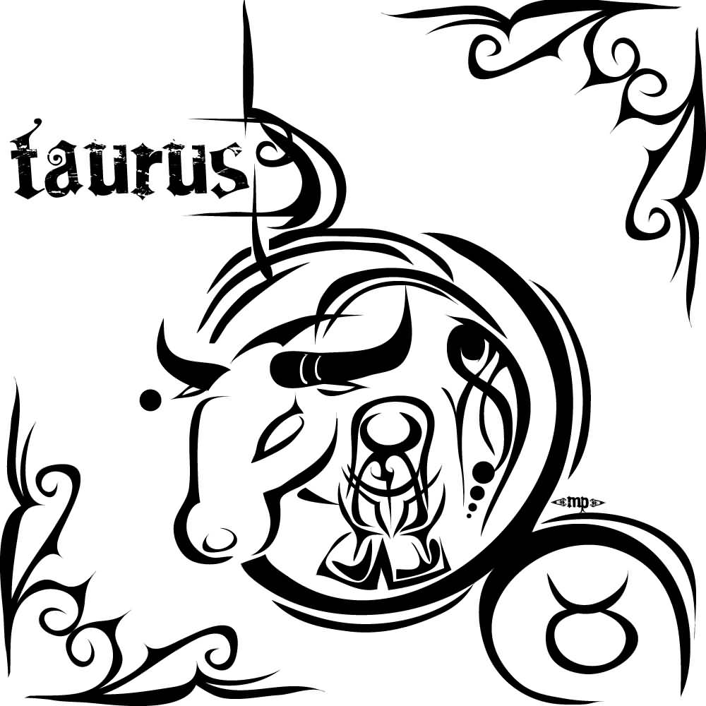 45 latest zodiac tattoos designs and ideas black tribal taurus zodiac sign tattoo design biocorpaavc Images