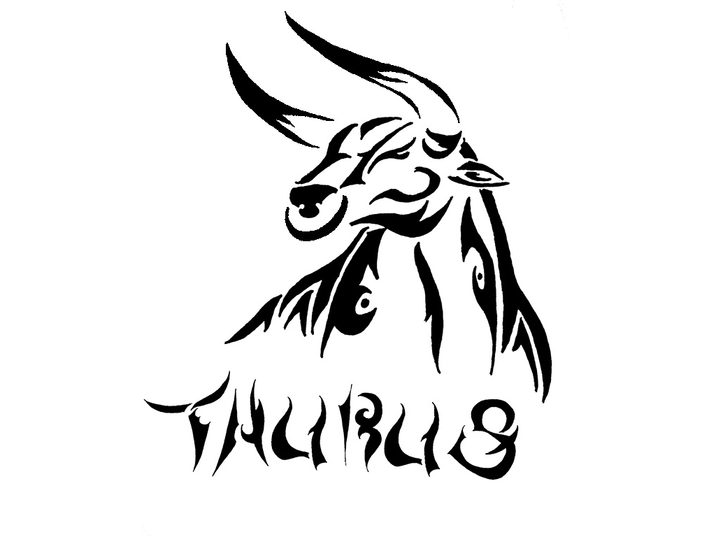 Pics photos taurus tattoos bull tattoo art - Black Tribal Taurus Zodiac Sign Tattoo Stencil