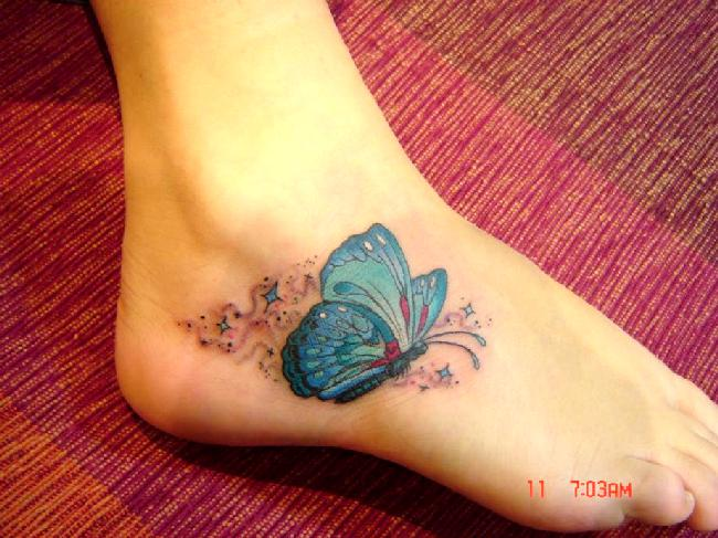 forget me not sun flower and butterfly foot tattoo. Black Bedroom Furniture Sets. Home Design Ideas