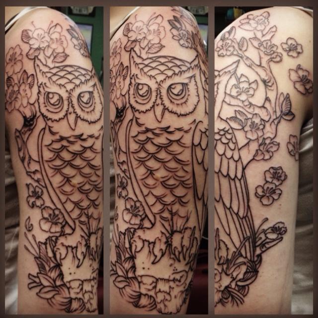 60 fantastic owl tattoos on sleeve. Black Bedroom Furniture Sets. Home Design Ideas