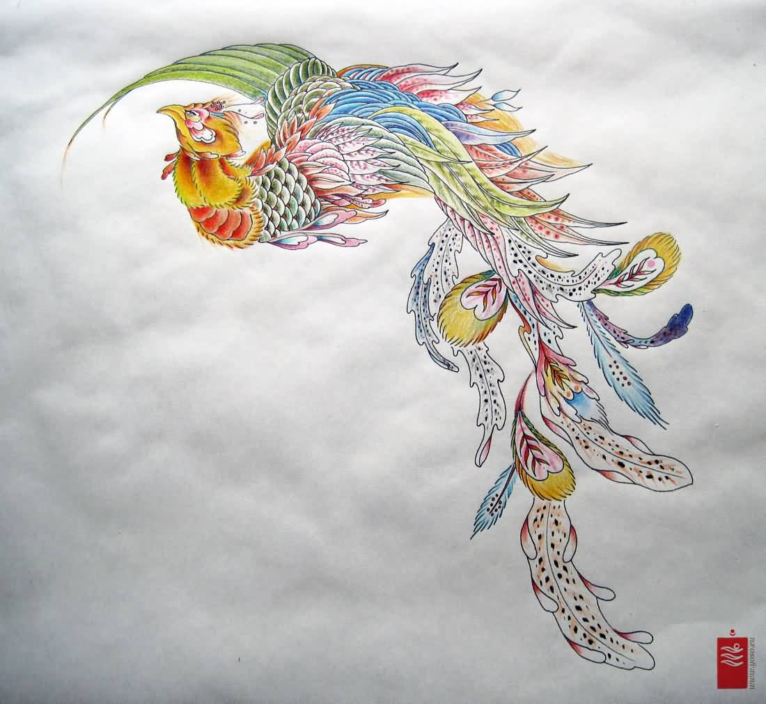 Colorful phoenix tattoo designs - Classic Colorful Japanese Phoenix Tattoo Design
