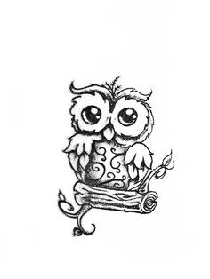 Little owl outline tattoo - photo#31
