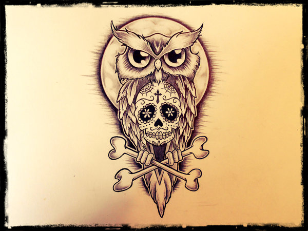 20 owl skull tattoos designs for Owl with sugar skull tattoo