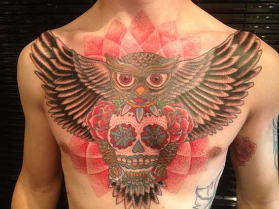 Chest Tattoo Owl Skull: 50+ Awesome Owl Tattoos On Chest