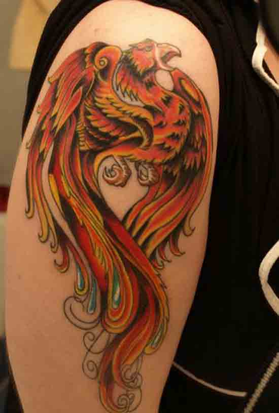 classic phoenix tattoo on right half sleeve. Black Bedroom Furniture Sets. Home Design Ideas