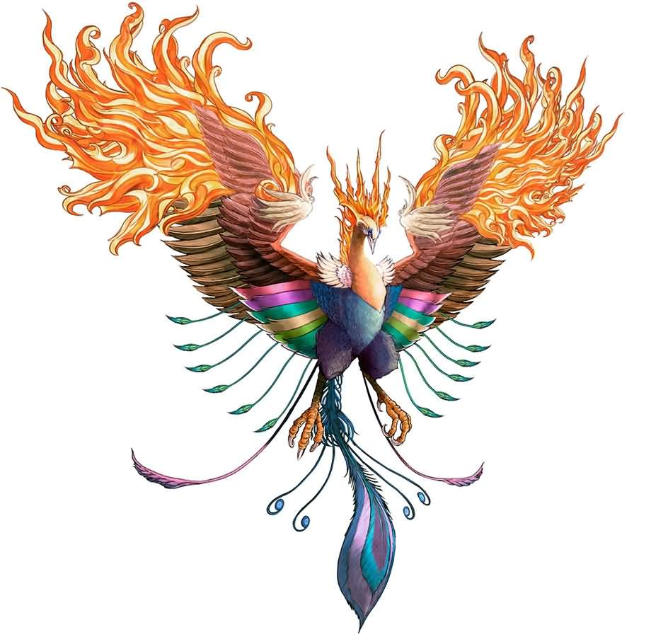 Colorful phoenix tattoo designs - Colorful 3d Flying Phoenix Tattoo Design