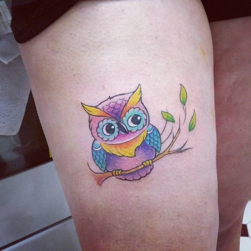 Little owl outline tattoo - photo#39