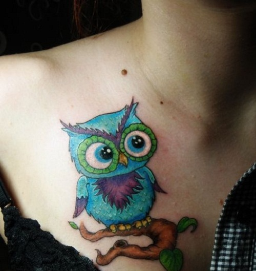 Image of: Funny Colorful Cute Owl Tattoo On Right Front Shoulder Askideascom 30 Cute Owl Tattoos Ideas