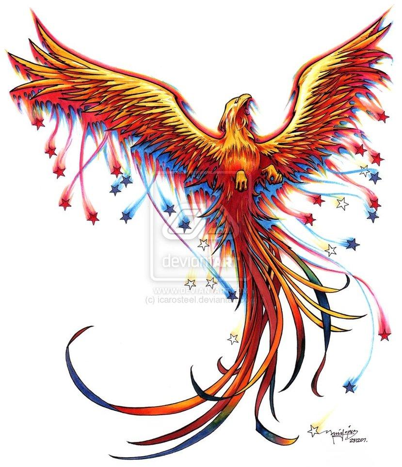 55 phoenix bird tattoos and designs. Black Bedroom Furniture Sets. Home Design Ideas
