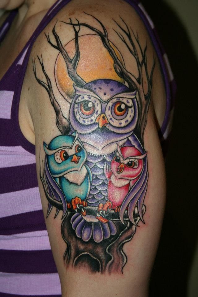 40 colorful owl tattoos collection. Black Bedroom Furniture Sets. Home Design Ideas