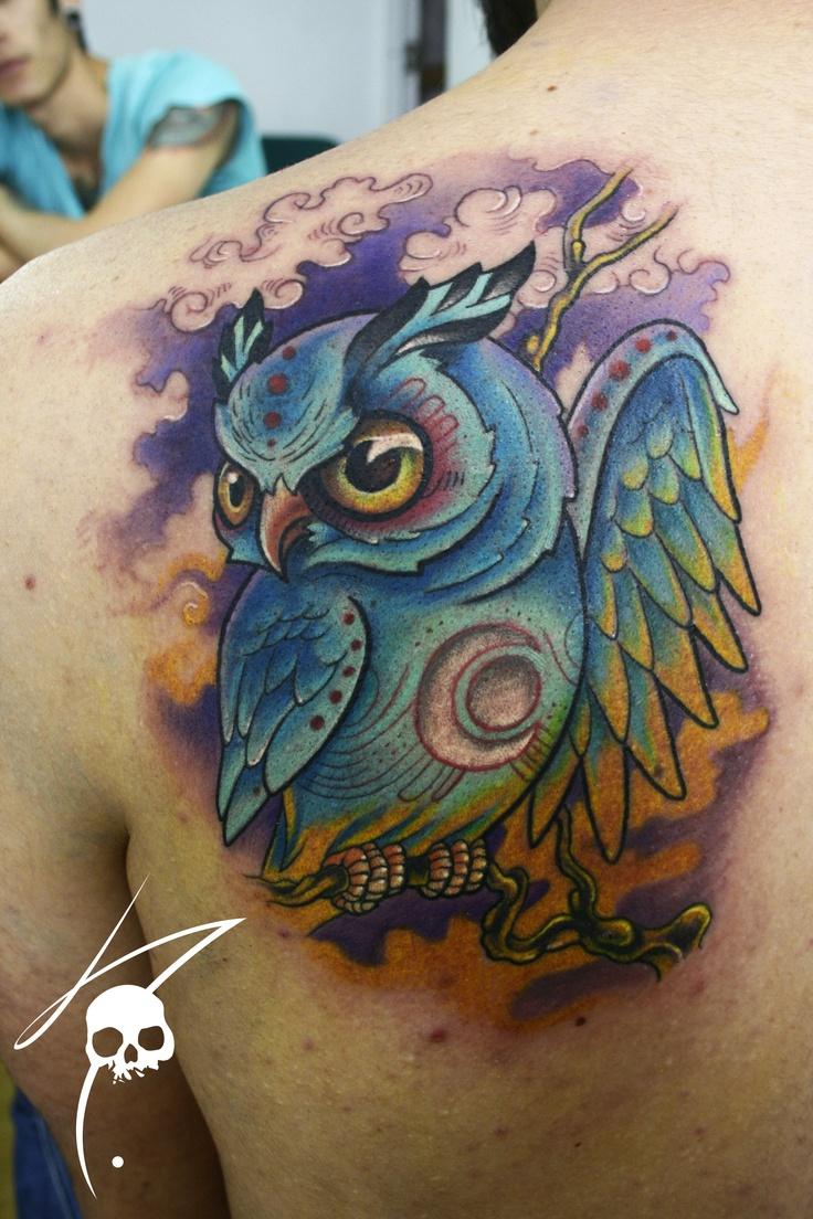 30+ Wonderful Colorful Owl Tattoos Ideas