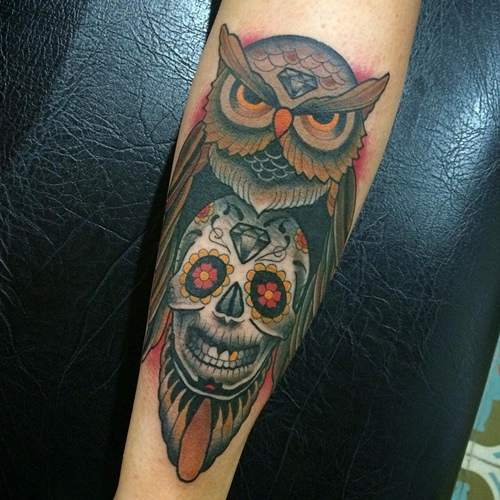 3148a07a9 Colorful Traditional Owl With Sugar Skull Tattoo Design For Forearm