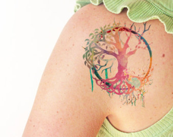 92ae0ef9bfc13 Colorful Tree Of Life Tattoo On Left Back Shoulder