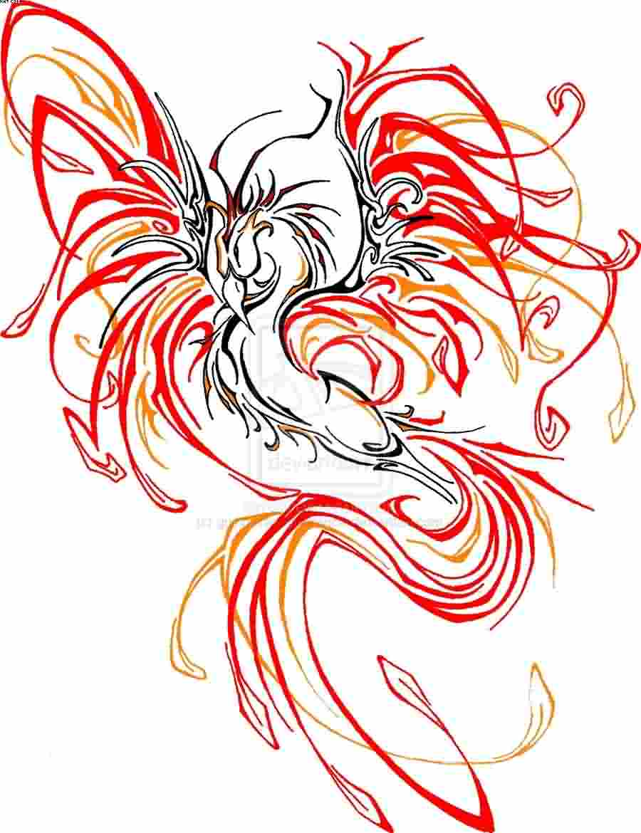 Colorful phoenix tattoo designs - Colorful Tribal Phoenix Symbol Tattoo Design