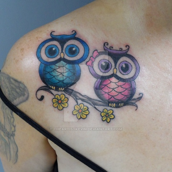 30 cute owl tattoos ideas colorful two cute owl on branch tattoo on right front shoulder by kevin voltagebd Image collections