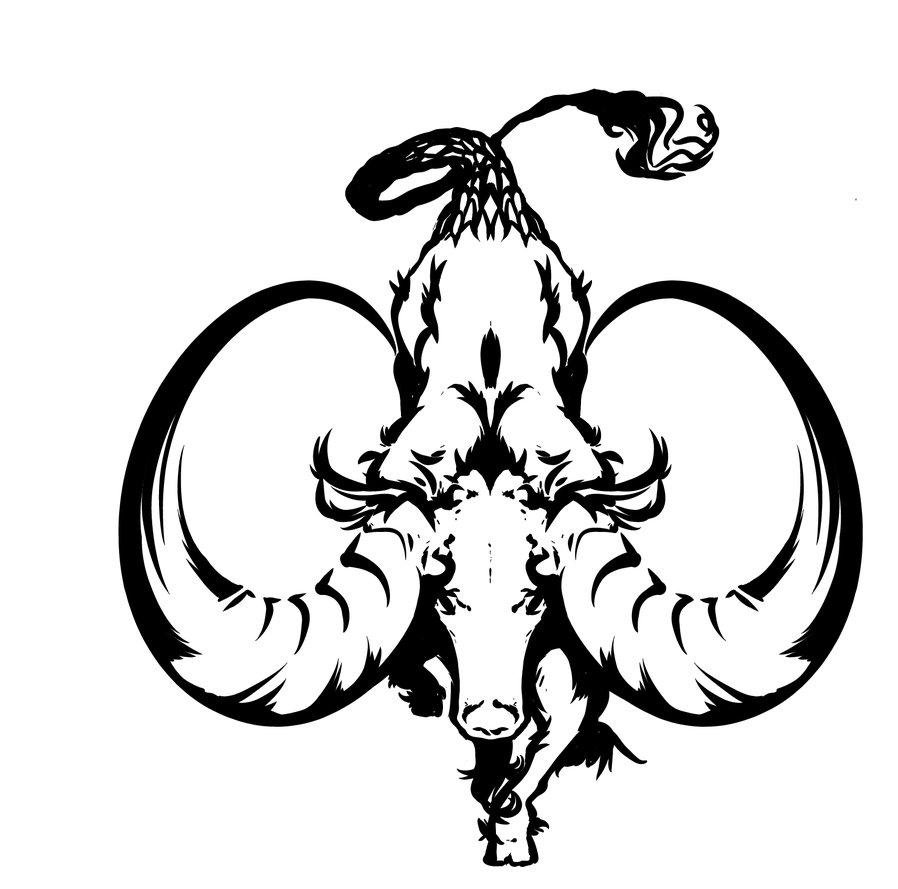 Sign tattoo designs - Cool Black Capricorn Zodiac Sign Tattoo Stencil By Cocoaeyes