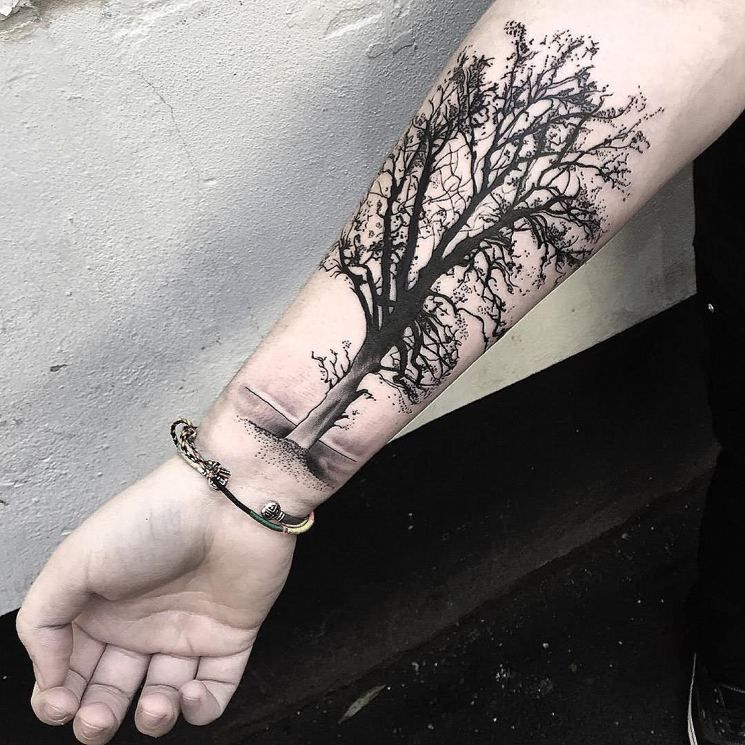 58c9e8289ec20 Cool Black Ink Tree Of Life Tattoo On Right Forearm By Kev Richardson Jr