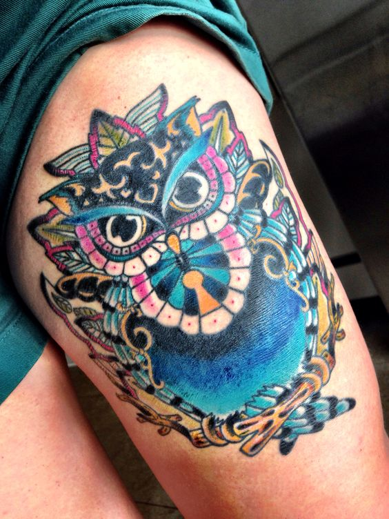40 colorful owl tattoos collection for Colorful thigh tattoos