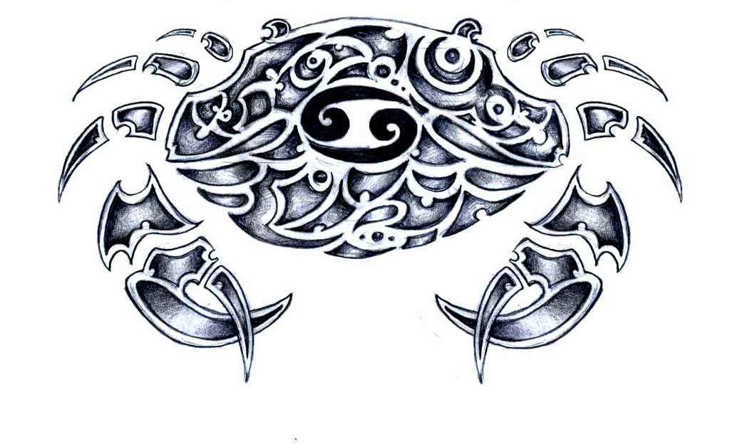 a45ed919a Cool Tribal Cancer Zodiac Sign Tattoo Design