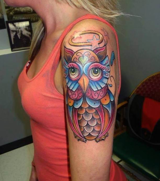 Cute Colorful Owl Tattoo On Girl Left Half Sleeve Owl Sleeve Tattoos For Girls