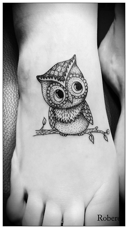 Cute owl tattoos on foot - photo#13