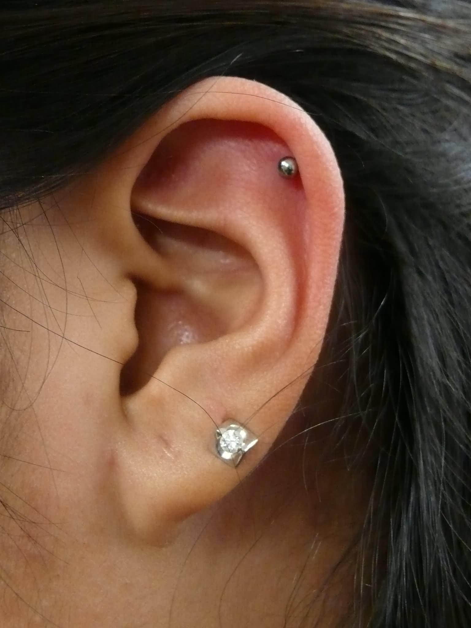 Cute Left Ear Lobe And Helix Piercing