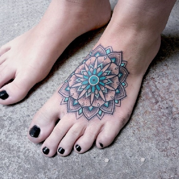 38 Colored Mandala Tattoos Collection: 60+ Cute Foot Tattoos Collection