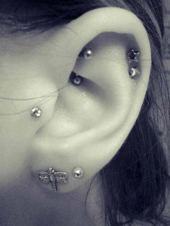 Cute Tragus Piercing For Girls
