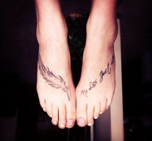 Cute word foot tattoos