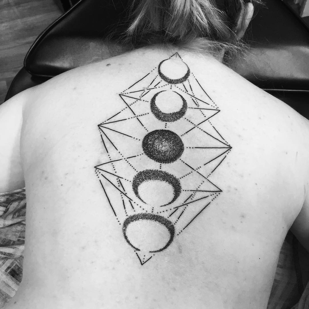 Dotwork phases of the moon tattoo on girl upper back for Phases of moon tattoo