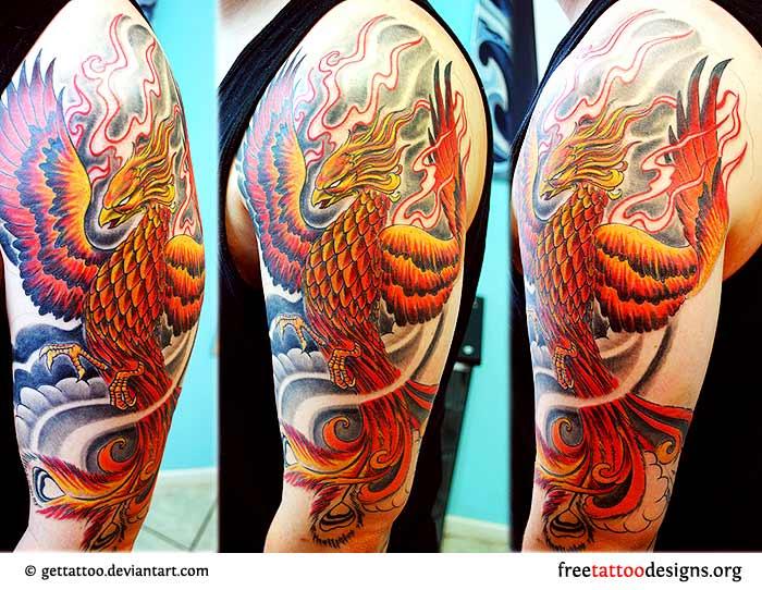 40 unique japanese phoenix tattoos for Phoenix tattoo half sleeve